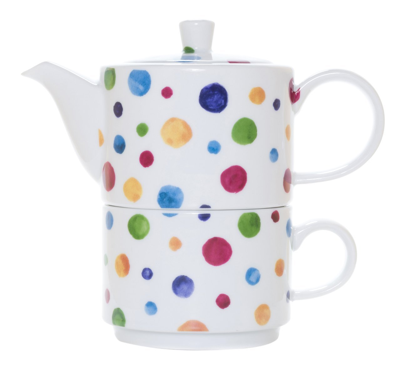 La Cija Tea for One Individual Porcelain Tea Set with Cup and Teapot - Dots Design - White 0689/093T
