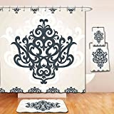 Nalahome Bath Suit: Showercurtain Bathrug Bathtowel Handtowel Arabesque Middle Eastern Islamic Motif with Arabic Effects Filigree Swirled Artsy Print Pearl Grey