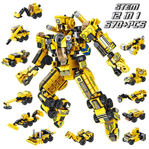 PANLOS Robot STEM Toy Engineering Building Blocks Building Bricks Toy kit - for Boys 6 Years Old or Older Tight Fit and Compatible with All Major Brands 570 PCS (Toys Boys Transformers)