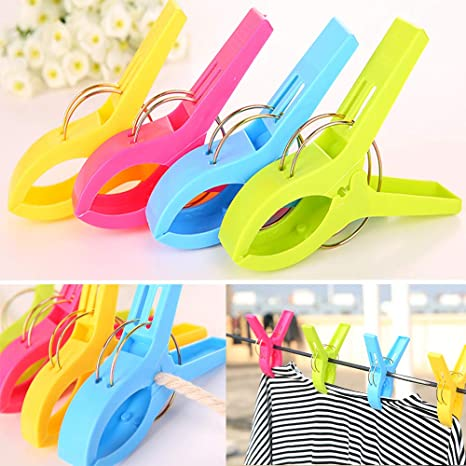 6pcs Large Beach Towel Clips Hanger Clamp Laundry Sunbed Clothespins Pegs