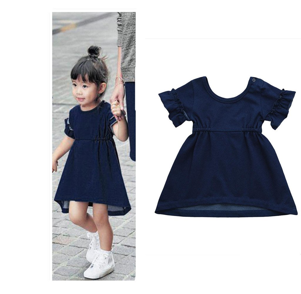 a341134826d7 Franterd Baby Solid Dress for Little Girl Toddler Kids Denim Ruffled Summer  Pageant Dresses Matching Family Clothes  5WefJ0812169  -  10.99