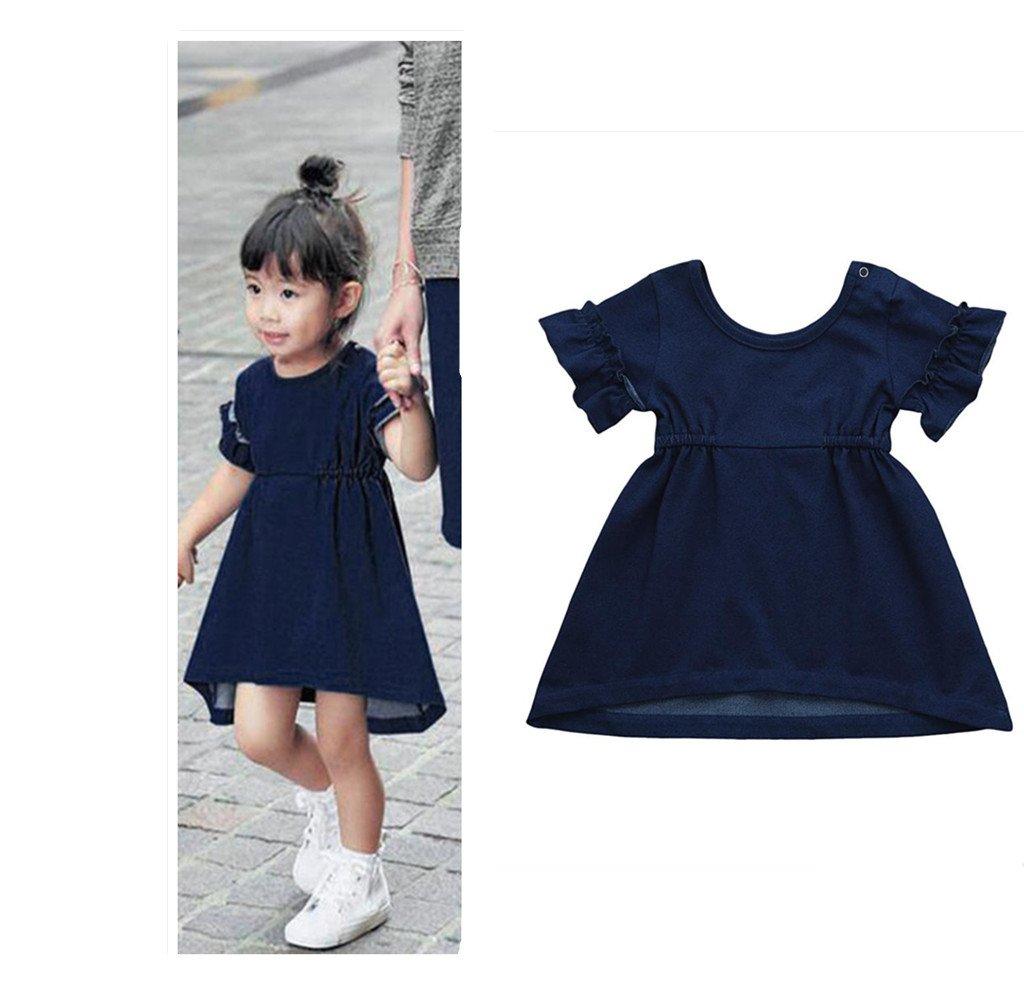 Franterd BabyソリッドドレスLittleガール幼児キッズデニムフリル付き夏ページェントドレスの一致するファミリClothes 4T ブルー B07CWQMJLC