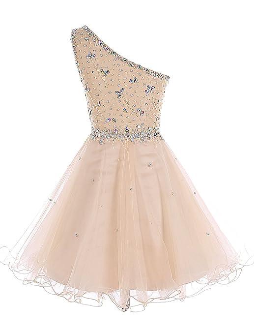 Bbonlinedress Short Tulle One Shoulder Prom Dress With Beading Homecoming Dress: Amazon.co.uk: Clothing