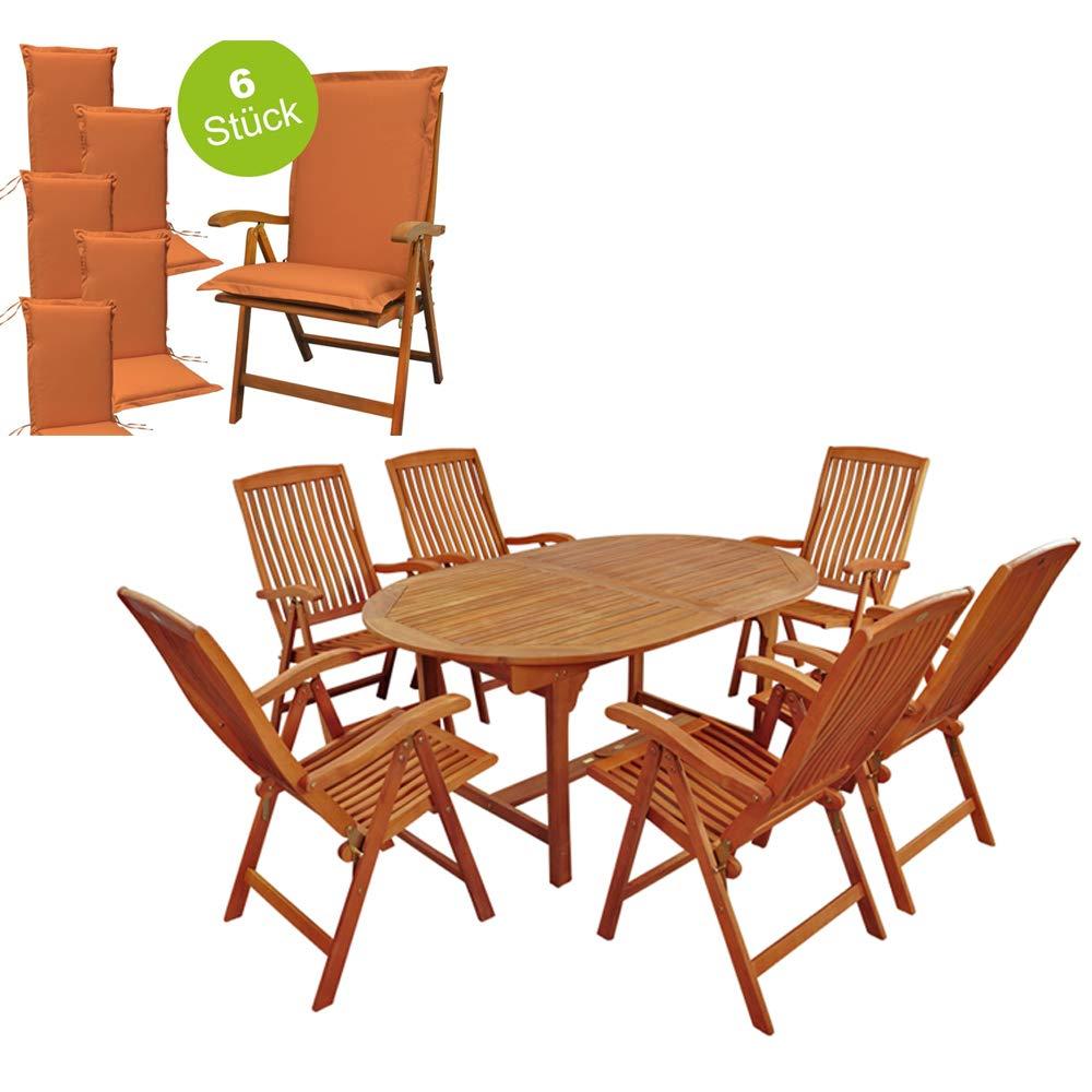 Indoba Premium Gartenmöbel Set 13-teilig Gartenset inkl, Auflagen Terracotta - Tisch (Ausziehbar) Gartenstühle (verstellbar) Gartenmöbelset