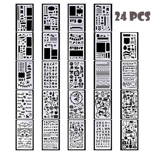 Ensemble de pochoirs Journal Pochoirs Plastique Planner Pochoirs Journal//portable//agenda//scrapbook//carte cadeau DIY Mod/èle de dessin 102/x 178/mm//10,2/x 17,8/cm Lot de 24/pi/èces///à partir de S1/au S24
