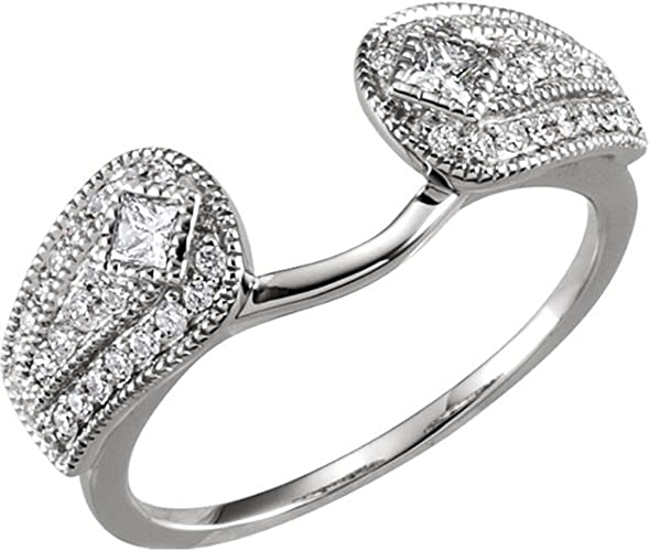 Silver Gems Factory 14k White Gold Plated Simulated Diamonds Princess Round Cut Solitaire Wrap Ring Guard Enhancer