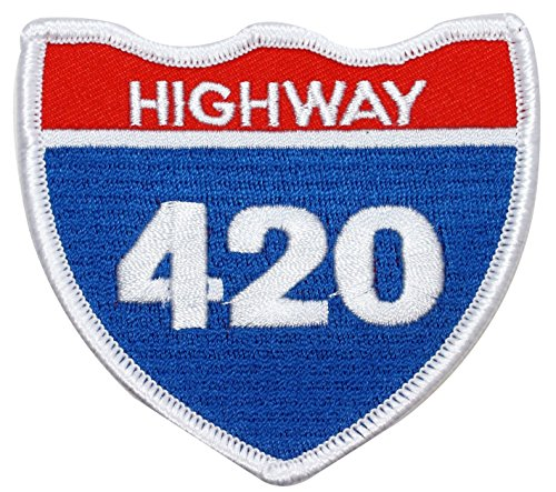 Single-Count-Custom-and-Unique-3-14-x-3-Inches-Highway-420-Sign-Shield-Iron-On-Embroidered-Applique-Patch-Blue-White-and-red-Colors
