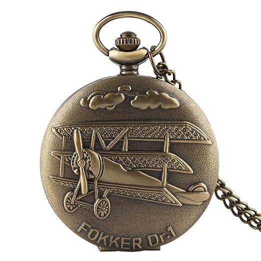 3d6861ab8 Fokker DR.1 Fighter Airplane Pocket Watch, Antique Bronze Quartz Pocket  Watch Pendant,
