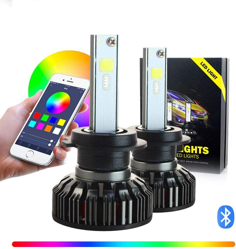 APP-RGB-9005 2 Pack RGB Colorful LED Car Headlights Sound Control APP Control Super Bright LED Lights