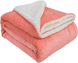 "VOTOWN HOME Soft Throw Winter Blanket Warm Sherpa Fleece Blanket for Couch Sofa Micro Fleece Plush Fabric, Living Coral Throw Size 50""x60"""