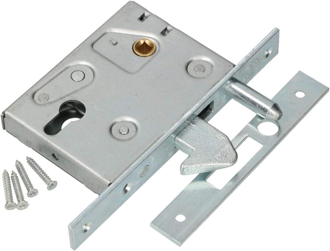 KOTARBAU® Cerradura de gancho para puerta corredera F-60, mandril guía para puerta corredera, cerradura de gancho de acero galvanizado resistente a la corrosión, placa de cierre para puerta de entrada