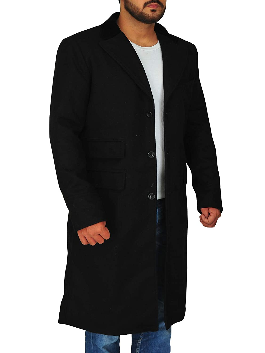 TrendHoop Mens Full Length Solid Black Overcoat Wool Blend Single Breasted 3 Button Fully Lined Hi