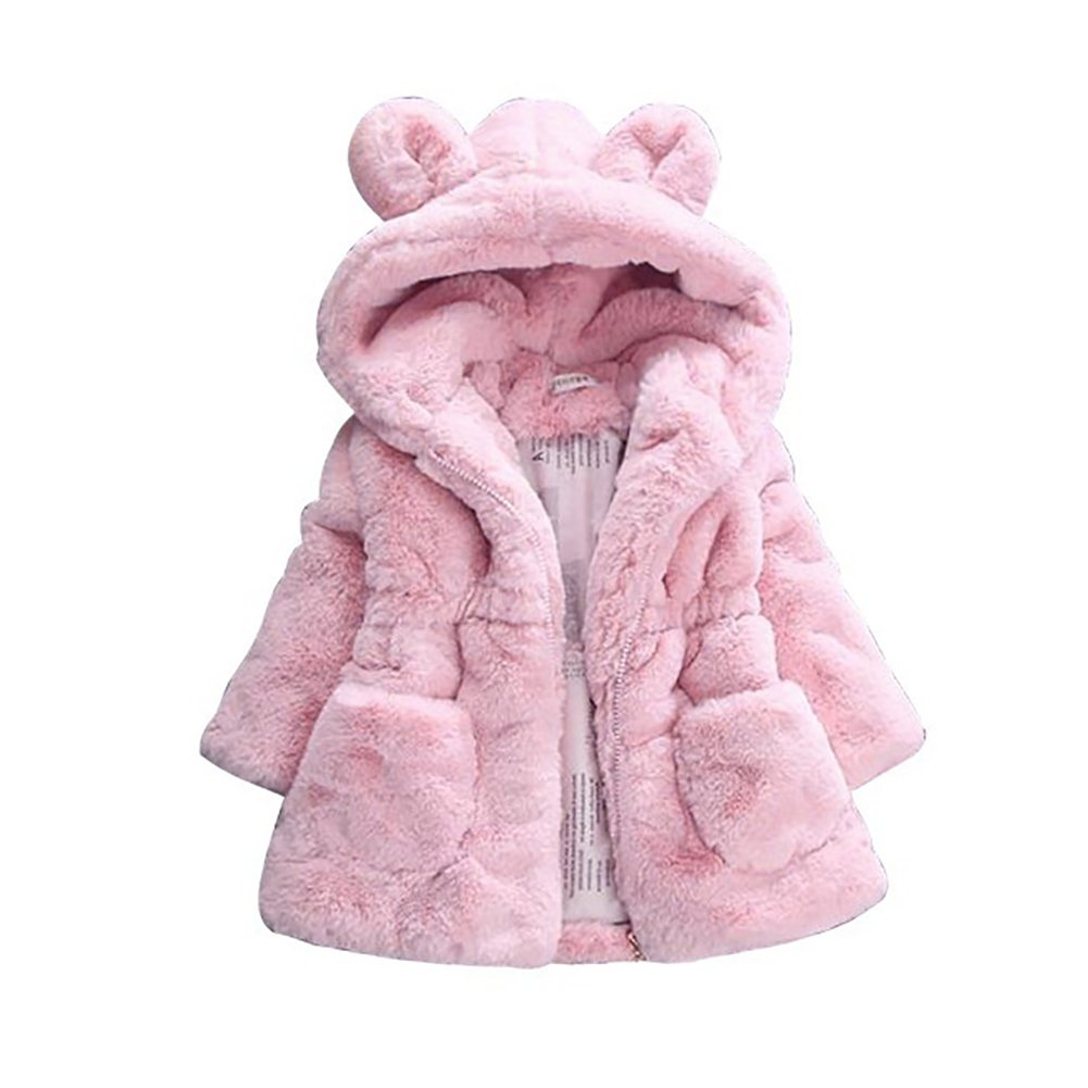 Gemini_mall Baby Girls Kids Hooded Rabbit Ears Coat Faux Fur Warm Jackets Outwear Winter Clothes For 1-5 Years Old