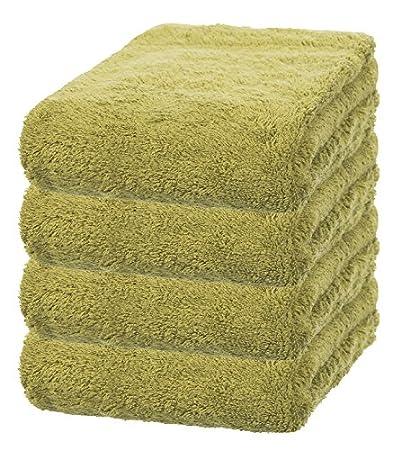 Conjunto de 4 toallas de bambú verdes, 70 x 140