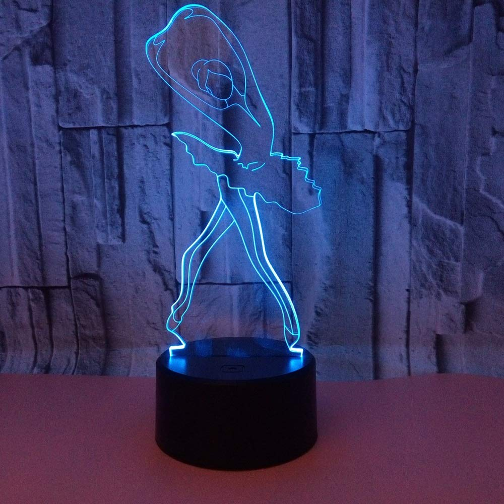 YWYU Creative 3D Night Light LED Illusion Lamp 7 Colors Gradually Changing Ballet Light USB Touch Switch Decorative Bedside Lamp Remote Control for Boys Girls Toys Gifts