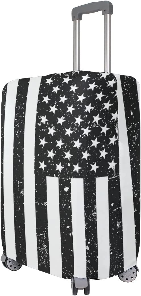 Luggage Protective Covers with American Flag Black Background Washable Travel Luggage Cover 18-32 Inch