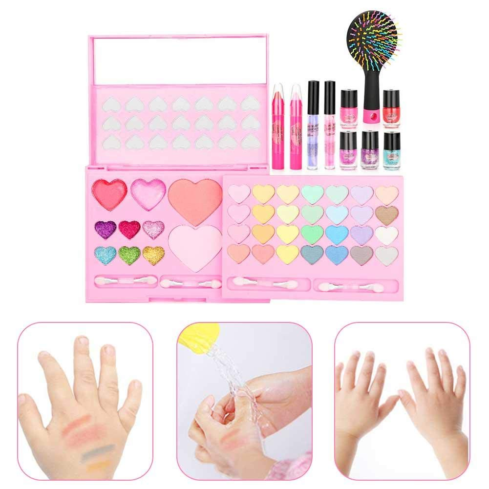 Per Newly Dressing Up Vanity Cases Pretend Play Cosmetic Makeup Washable Real Girl Makeup Toy Set Fashion Kit for Little Girls & Kids