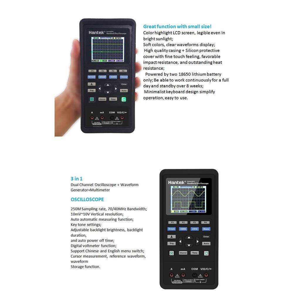 Gankmachine 3 in 1 Digital Oscilloscope//Waveform Generator multimetro Portatile con Display USB 2 Canali LCD Prova Strumento di misuratore