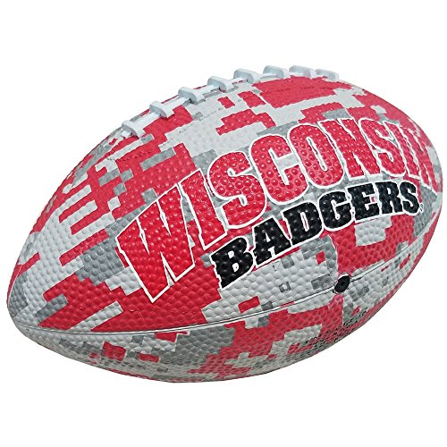 Logo Brands NCAA Wisconsin Badgers Unisex Wisconsin Mini-Size Rubber Camo Football Boxed93MR - MS Rubber FB, Red, One Size