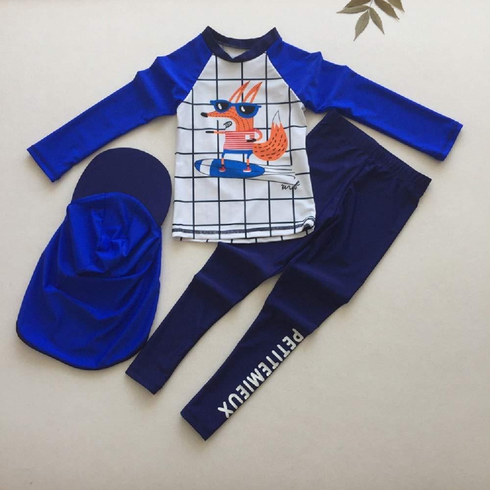 Yunqir Kids Wetsuit 3 Pcs/Set Children Long Sleeve Split Swimsuits Kids Sunscreen Lattice Patterns Wetsuit for Water Sports(Blue)