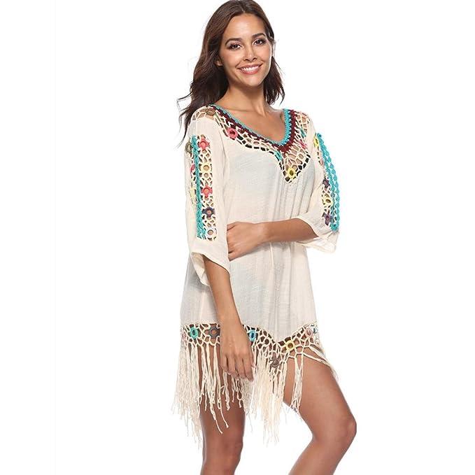 24ac4b917882c Women Beach Bikini Swimsuit Cover Ups Mingfa Summer Loose Tassel Chiffon  Floral Crochet Knit Hollow-Out Swimwear Beachwear Dress Smock (Beige, ...