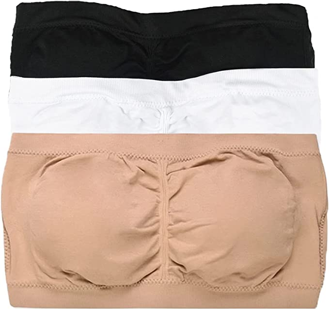 Seamless bandeau bra Boob Tube Strapless stretchy PACK OF 3 Black White /& Beige