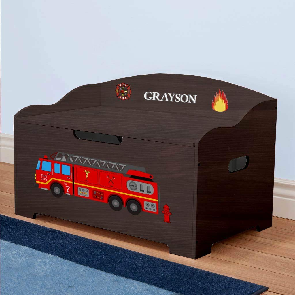 DIBSIES Personalization Station Personalized Modern Expressions Toy Box (Espresso with Firetruck Theme) by DIBSIES