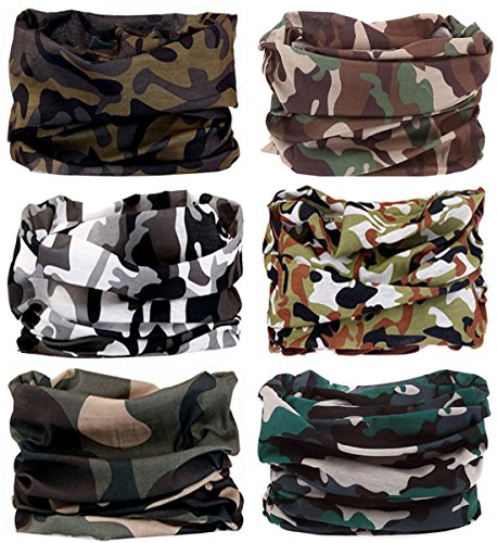 Camouflage Scarf - KINGREE 6PCS Outdoor Magic Scarf, High Elastic Womens and Mens Headbands with UV Resistance, Headscarves, Headwear, Mask (Camo&Army 3)