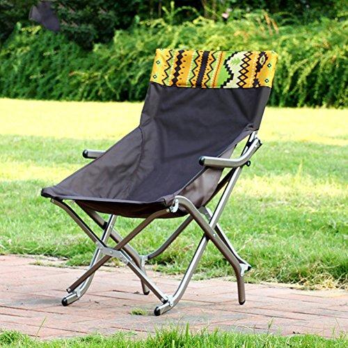 Outdoor Folding Camping Chair, Canvas Lightweight recliners American Lounge Chair Aluminum Portable Fishing Chair Leisure Chair Beach Chair Moon Chair-Brown W52xH81cm(20x32inch)