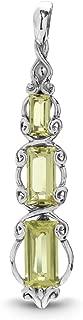 product image for Carolyn Pollack Sterling Silver Lemon Quartz Gemstone 3 Graduated Baguette Pendant Enhancer
