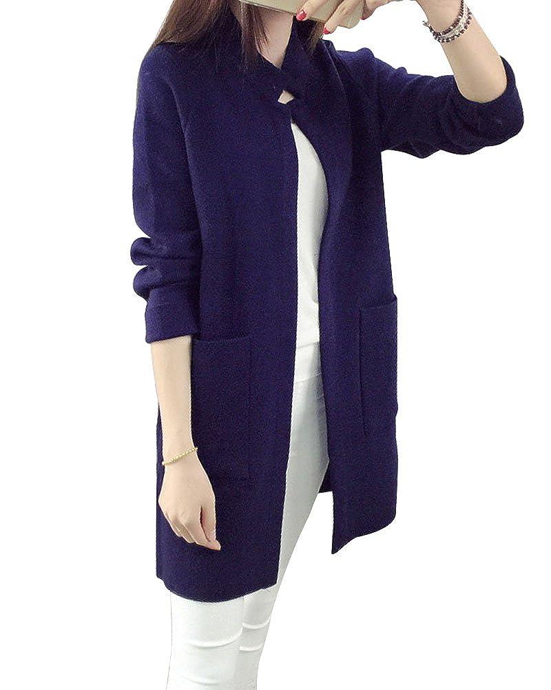 b12bfb3535865e ZhuiKun Damen Langarm Lose Stehkragen Strickjacke Cardigan Strickmantel  Outwear Tops Pullover mit Tasche Grau: Amazon.de: Bekleidung