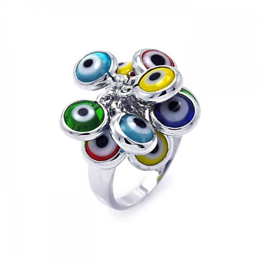 Multi Colored Hanging Evil Eyes Ring Rhodium Plated Sterling Silver Size 7