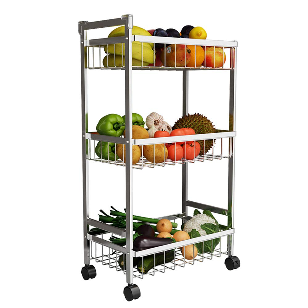 MLQ Quality Stainless Steel Three-Tier Trolley Kitchen Storage Rack, High Capacity, Suitable for Kitchen, Bathroom, Living Room, Silver, 4220.582Cm