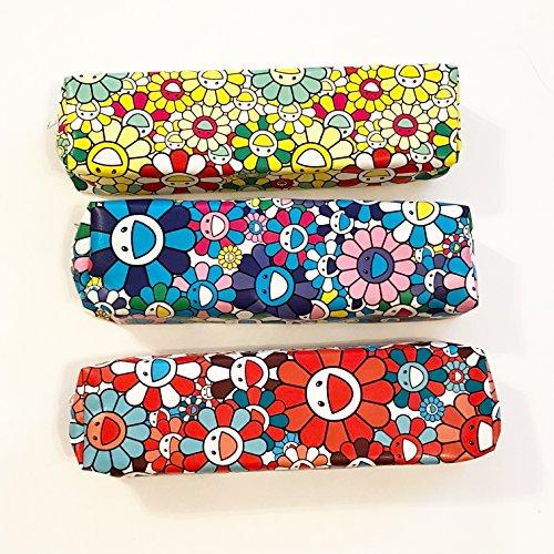 Happy Star® Tournesols Motif PU Cuir mignon Floral trousses cosmétiques Make Up Sacs Pen Pouches motif floral bleu