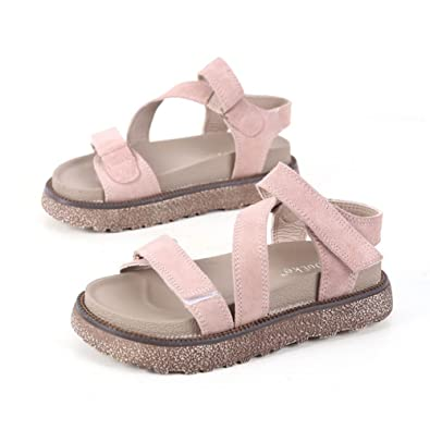73259a6d565e Image Unavailable. Image not available for. Color  Womens Leather Flatform  Sandals Thick Sole Fashion Summer Open Toe Platform ...