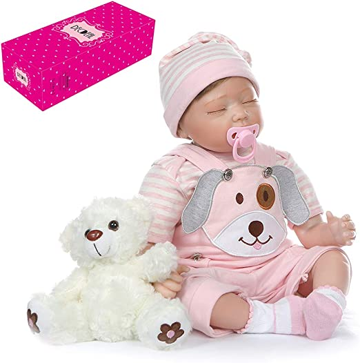 """22/"""" Touch Doll Silicone Vinyl Newborn Doll 22/"""" Lifelike Reborn Baby Girl Real TY"""