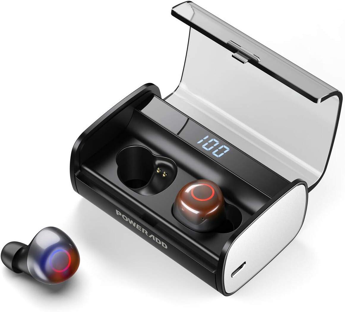 POWERADD Auriculares Bluetooth Auriculares inalámbricos con Bluetooth 5.0 Mini In-Ear Auriculares Carga Rapida Resistente al Agua con Caja de Carga-Negro