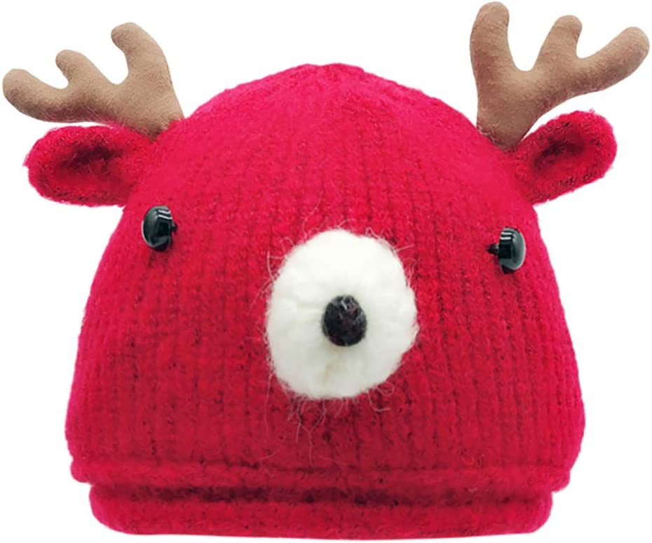 Black Yisily 1PC Toddler Hat Christmas Cute Reindeer Antlers Hats Knitted Keep Warm Earflaps Hat Winter Hats for Babies Girls