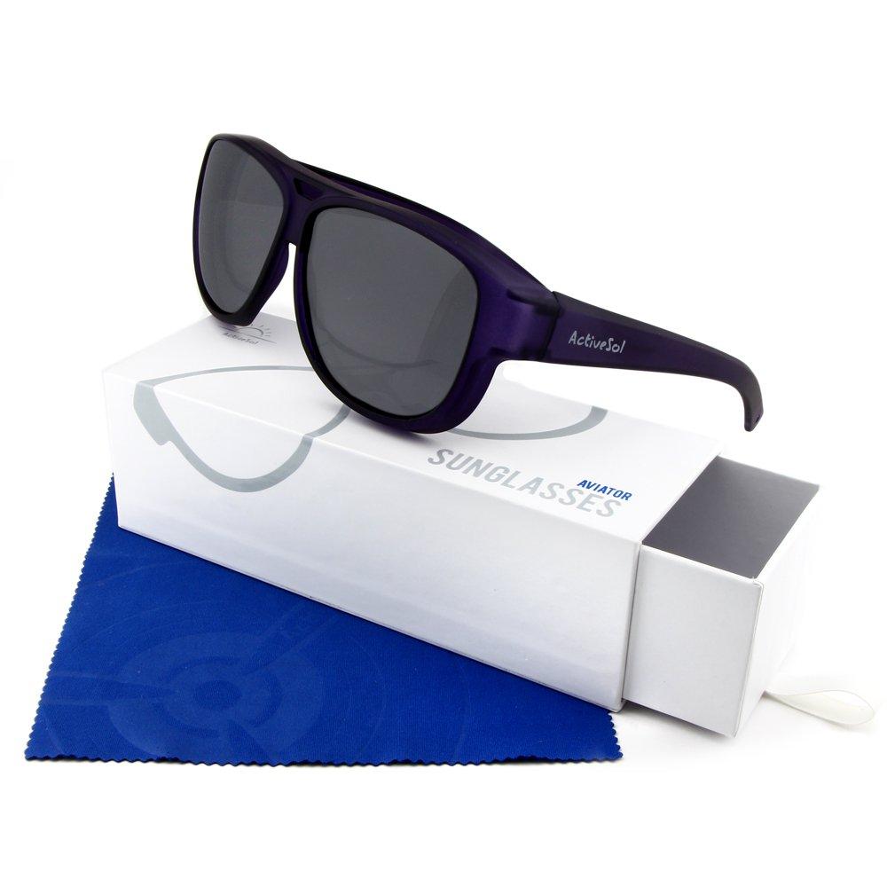 Sovraocchiali da sole di design Active Sol | Aviator - Occhiali modello aviatore | Occhiali da sole sovrapponibili con protezione UV400 | polarizzati | 24 grammi (Violetto)