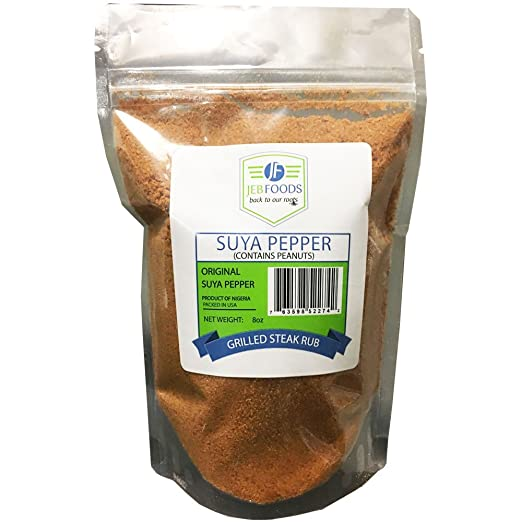 Suya seasoning 8oz - African suya seasoning - sweet flavor, spicy powder, grilled steak seasoning blend (with kuli kuli – grounded roasted peanut cake) (SUYA PEPPER 8oz)