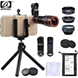 Apexel Phone Camera Lens Kit, 4 in 1, HD 12X Zoom Telescope Lens+ Fisheye+ Wide Angle+Macro Lens, with Phone Holder and Tripod, Clip on Cell Phone Lens for iPhone 8/7/6s Plus/SE, iPad, Samsung, Google
