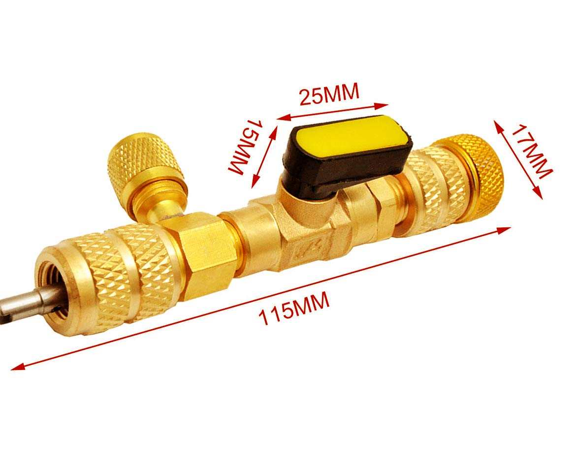 R22 R410A Valve Core Remover Installer Tool with Dual Size SAE 1//4 /& 5//16 Port for HVAC R22 R410A Valve Core Repair Tools