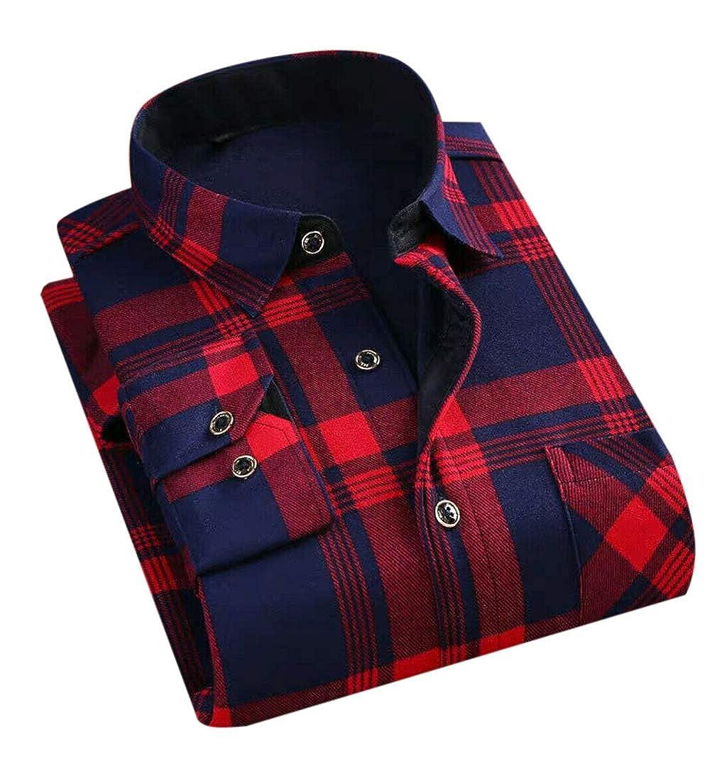 Nanquan Men Button Up Stylish Fleece Warm Buffalo Thickened Shirts