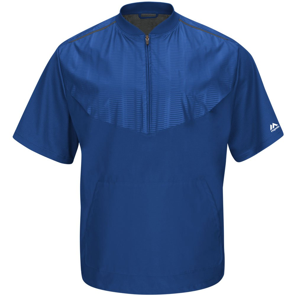 Majestic Youth Cool Base半袖トレーニングジャケット B015G799C6 Large|Royal|Grey Royal|Grey Large