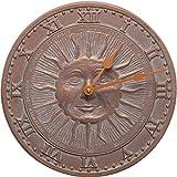 MD Group Sunface Outdoor Clock, 12'' x 12'' x .5'' x 5 lbs, Copper Verdi