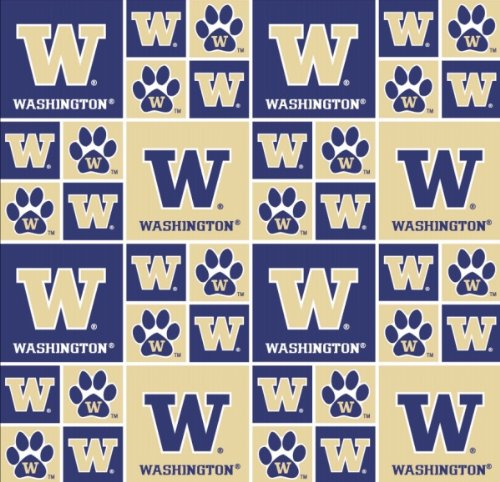 UNIVERSITY OF WASHINGTON HUSKIES COTTON FABRIC-100% COTTON -UNIVERSITY OF WASHINGTON HUSKIES FABRIC SOLD BY THE YARD-UNIVERSITY OF WASHINGTON HUSKIES PATTERN #20 -SYKEL COLLEGE COTTON FABRIC ()