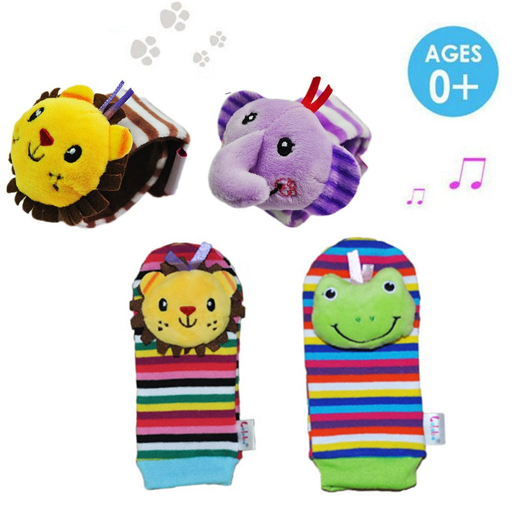 Daisy 4 Packs Adorable Animal Infant Baby Wrist Rattle & Foot Finder Socks Best Gift Developmental Toys Set - Lion and Elephant Daisy's Dream