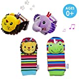 Amazon Price History for:Daisy 4 Packs Adorable Animal Infant Baby Wrist Rattle & Foot Finder Socks Best Gift Developmental Toys Set - Lion and Elephant