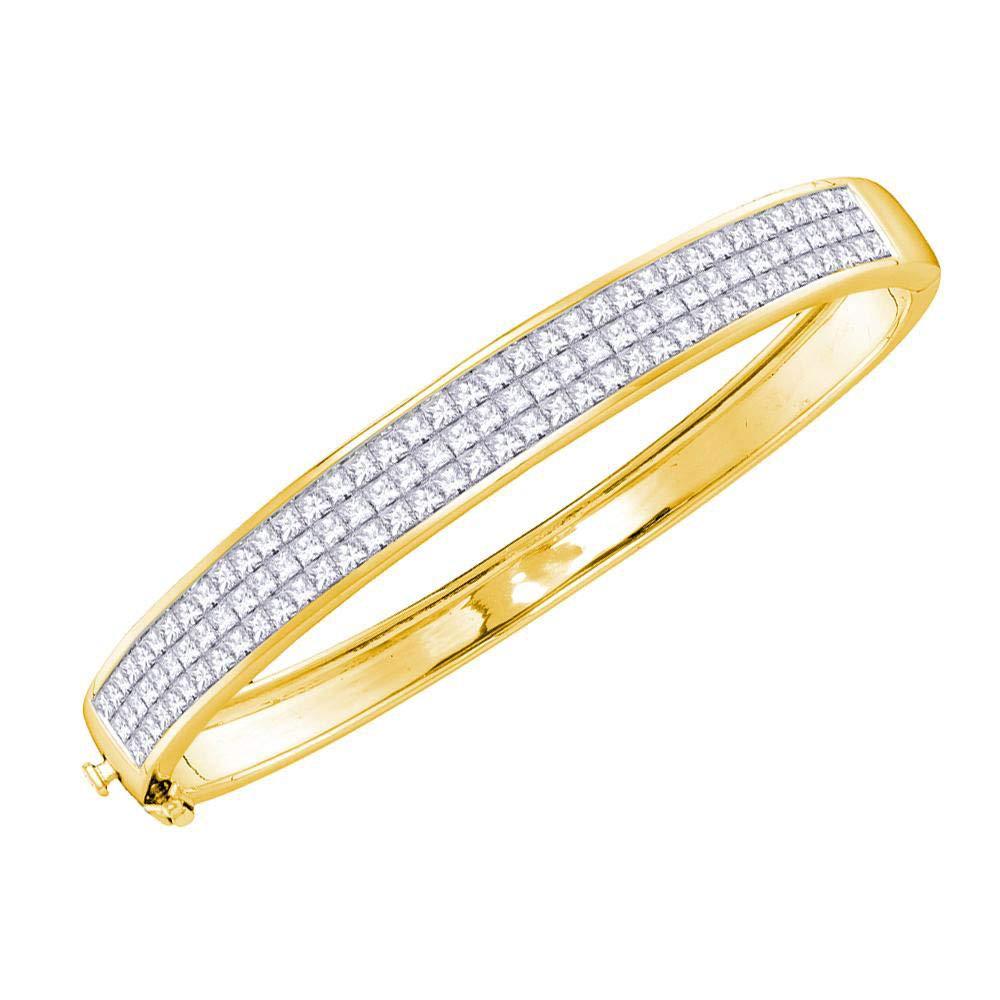 Princess Diamond Bangle Bracelet Three Row Fashion Luxury Style Fancy 6.01ct 14k Yellow Gold