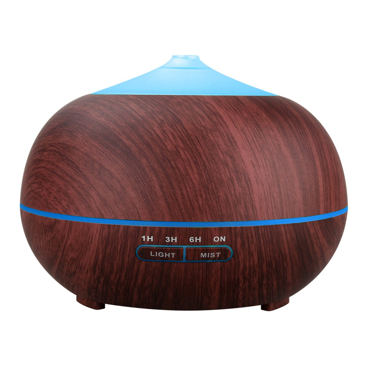 Tenswall Aromatherapy Essential Oil Diffuser, 400ml Ultrasonic Cool Mist Humidifier - Whisper Quiet Operation -7 Changing LED Lights & Auto Shut-Off - 4 Timer Settings - Dark Brown Wood Grain Color